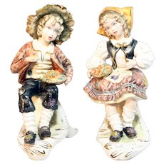 Exquisite Italian Boy and Girl Figurine / Capodimonte Figurines / Vintage Porcelain Bisque Boy and Girl Figurines Made in Italy