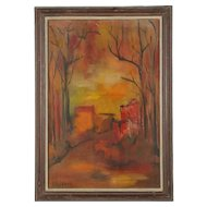 Original Oil Painting of an Abstracted Landscape Signed Wallach / Abstract Oil Painting of a Village Road through Forest Red and Yellow