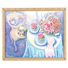 Oil Painting on Canvas of Still Life With Flowers and Pink Ribbon by L. Kimerer / L. Kimerer Original Oil Painting Still Life