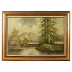 Oil Painting on Canvas of Mountain Landscape by Thomas / Mountain Landscape Oil Painting on Canvas