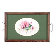 Vintage Wood and Glass Tray with Cross-Stitch Pattern of Pink and White Hibiscus Flowers / Vintage Needlepoint Glass and Wood Decorative Serving Tray