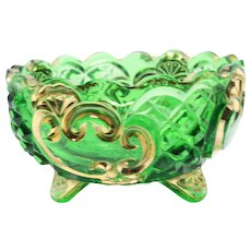 Emerald Green Vintage Cut Glass 3 Footed Ashtray / Green Scalloped Glass Trinket Bowl Retro Home Décor