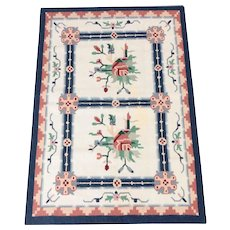 """Handwoven Traditional Indian Wool Dhurrie Accent Rug - 4' x 6'1"""""""
