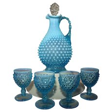 Fenton Hobnail Blue Opalescent Decanter with Blue Handle and set of Four Matching Goblets