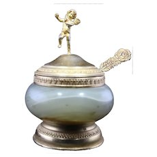 Miniature Vintage Deco Stone Cosmetic Dish with Metal Cupid Topper and Engraved Spoon