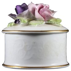 Vintage Crown Staffordshire Fine Bone China Trinket Dish with Floral Lid