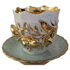 Vintage Japan Creamer and Saucer Mother of Pearl Iridescent Luster Mint White and Gold Porcelain Relief Appliqué