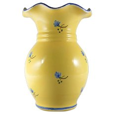Country French Springtime Porcelain Vase Yellow with Blue Flowers by Faiencerie d'Art de Malicorne
