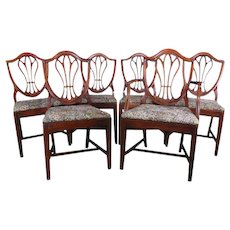 """Drexel Solid Mahogany """"Shield Back"""" Dining Chairs - Set of 6"""