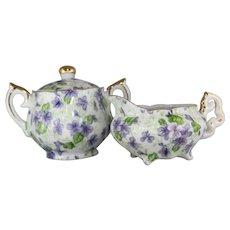 Vintage Lefton Violet Chintz Individual Sugar Bowl and Creamer Set