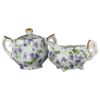 Vintage Lefton Violet Chintz Individual Sugar Bowl and Creamer Set