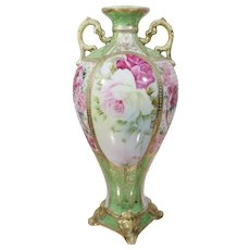 Old Japanese Noritake Moriage Double Handle Beaded Vase with Hand Painted Flowers Gold Beaded