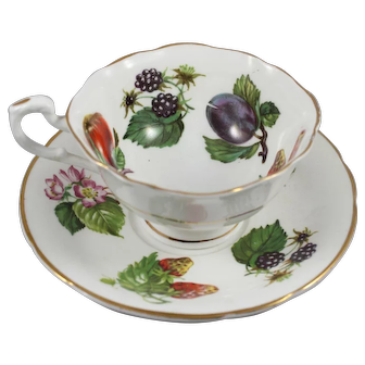 Crownford Cup & Saucer Fruit Pattern England Fine Bone China