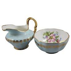 Open Pale Blue Cream and Sugar Set, Vintage Clare English Bone China Creamer and Open Sugar Bowl, ca. 1960