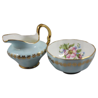Open Pale Blue Cream and Sugar Set, Vintage Clare English Bone China Creamer and Open Sugar Bowl, ca. 1960