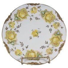Antique ES Prussia Handpainted Yellow Roses Plate with Gold Trim RS Prussia RSP