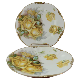 Pair of Antique RS Prussia Porcelain by Prov Saxe ES Plate Yellow Roses Gilded Trim Germany