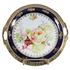 Royal Blue and Gold Vintage Noritake Hand Painted Two Handled Plate with Yellow and Pink Roses
