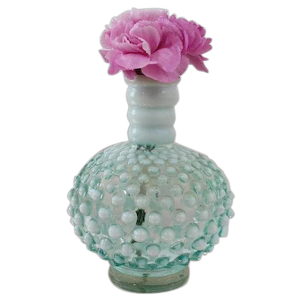 Vintage FENTON Hobnail Blue Opalescent Glass Barber Jar Bud Vase Decanter