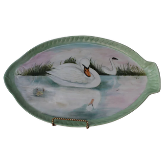 Vintage Gerold Porzellan West Germany Platter Hand Painted Artist Signed Swans Pastel Pink Green Blue