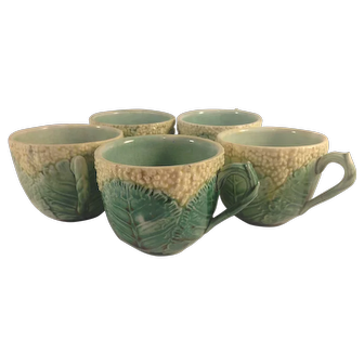Antique Majolica GRIFFEN SMITH & Company Cauliflower Tea Cups - Set of Five