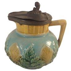 Antique Majolica Glaze Syrup Jug Creamer Green Fern Tan Leaves 1880s