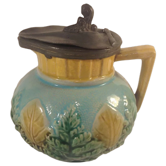 Antique Majolica Glaze Syrup Jug Creamer Green Fern Tan Leaves 1880s