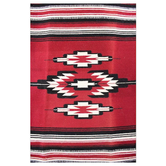 VTG Centinela Trading Arts Chimayo Woven Rug Blanket Red White by Ginnie Valdez