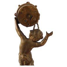 Vintage Art Nouveau Figural Gilt Bronze Metal Cherub Clock