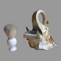 French Men's Elephant Head Shaving Dish and Porcelain Brush