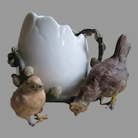 French Porcelain Egg with Painted Bronze Chickens and Vine