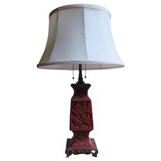 1920s Chinese Carved Cinnabar Lamp