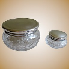 English Sterling Silver and Crystal Dresser Jars