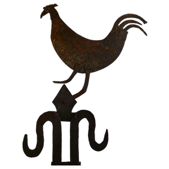18thc French Farmhouse Cockerel Trade Sign Enseigne Painted Iron Folk Art Primitive
