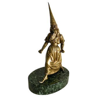 19thc Gilded Bronze Articulated Wizard Merlin Table Lighter Pyrogène