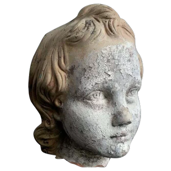 19thc French Terracotta Head of a Child Life size Sculpture with beautiful patina