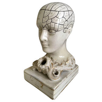 English 19thc Ceramic Phrenology Head by F Bridges Desk Inkwell Rare Small Size