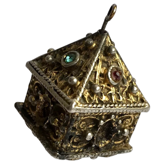 Late Medieval Reliquary Jewell Casket Silver gilded and faux gems Celtic Irish