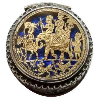 Indian Rajasthan 19thc Silver, gold and blue glass pill box