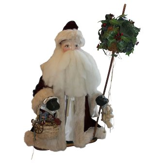 Father Christmas With Holly Ball and Gift Basket By Theresa A. Sprague