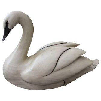 Tom Taber-Signed, Solid Wood Swan Decoy Hand Carved,