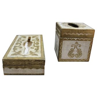 Vintage Gold Gilt Wood Florentine Tissue Box Set