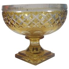 Yellow Cut to Clear Bohemian Bowl Vintage Mid Century Glass