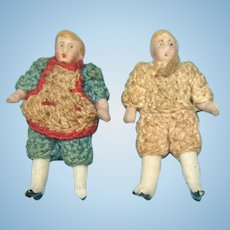 Carl Horn Antique Miniature Dolls in Original Crocheted Outfits