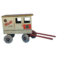 Rich's Little Milk Man Metal and Wood Wagon Vintage