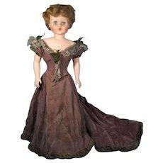 Vintage Lady Doll Gown Pale Mauve Plush