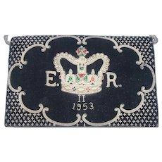 Black Velvet & Bullion 1953 Queen Elizabeth II Clutch Purse - Red Tag Sale Item
