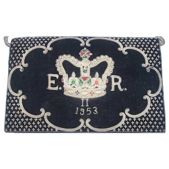 Black Velvet & Bullion 1953 Queen Elizabeth II Clutch Purse