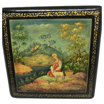 Russian Lacquered Box Shepherdess