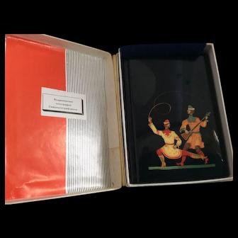 Russian lacquer address book in original box